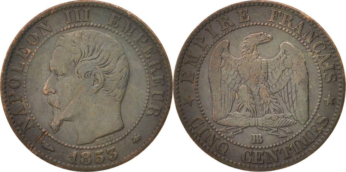 5 Centimes 1853 BB Frankreich Napoléon III Napoleon III VF(30-35)