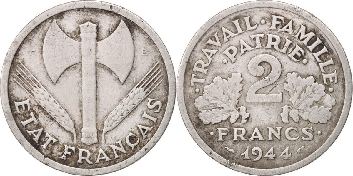 2 Francs 1944 C Frankreich Bazor EF(40-45)