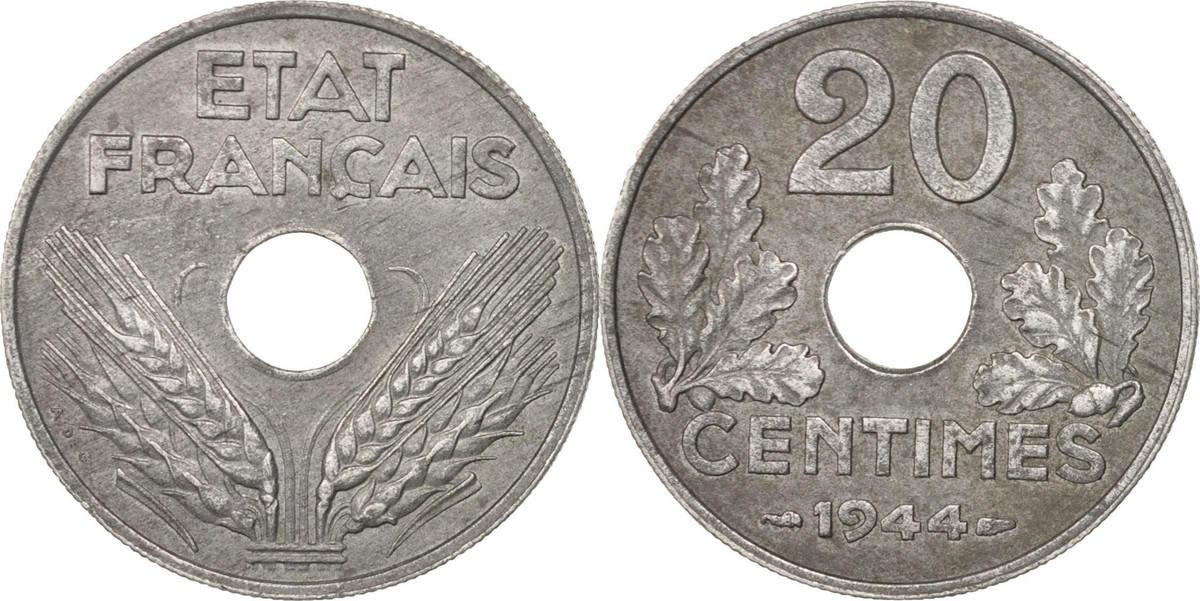 20 Centimes 1944 Paris Frankreich État français AU(50-53)