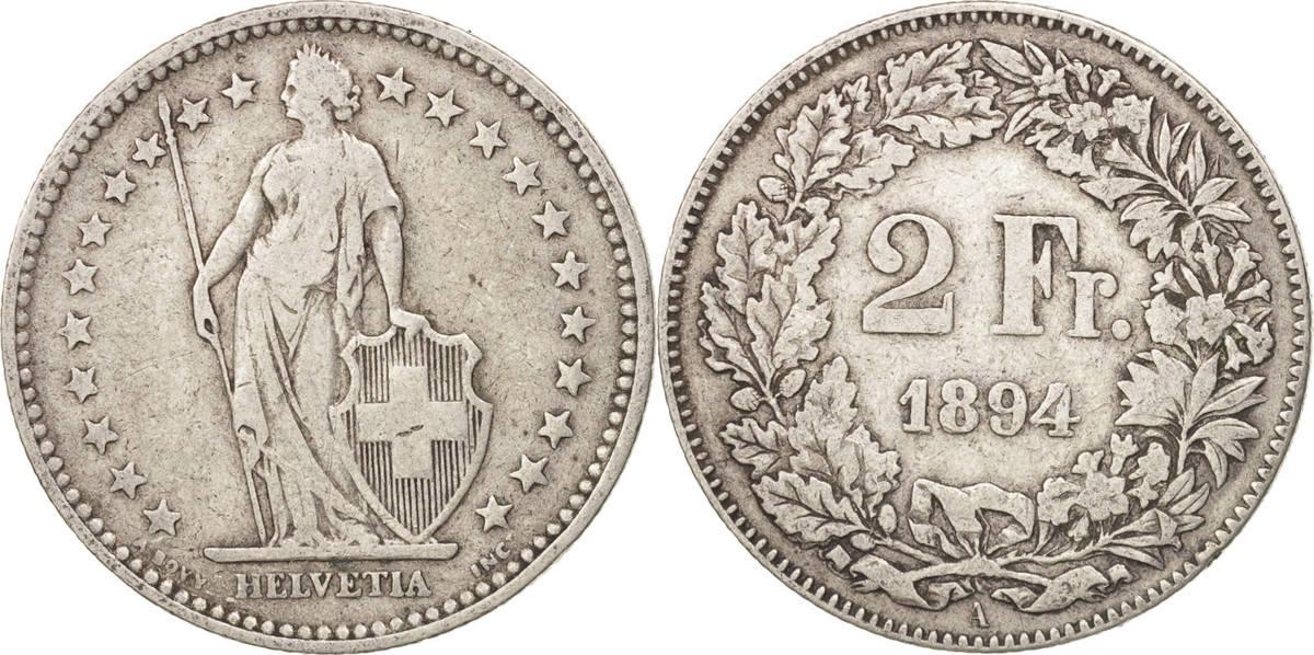2 Francs 1894 A Schweiz VF(30-35)