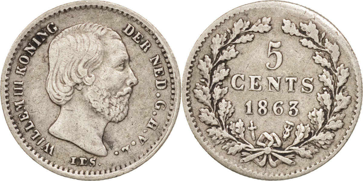 5 Cents 1863 Niederlande William III AU(50-53)