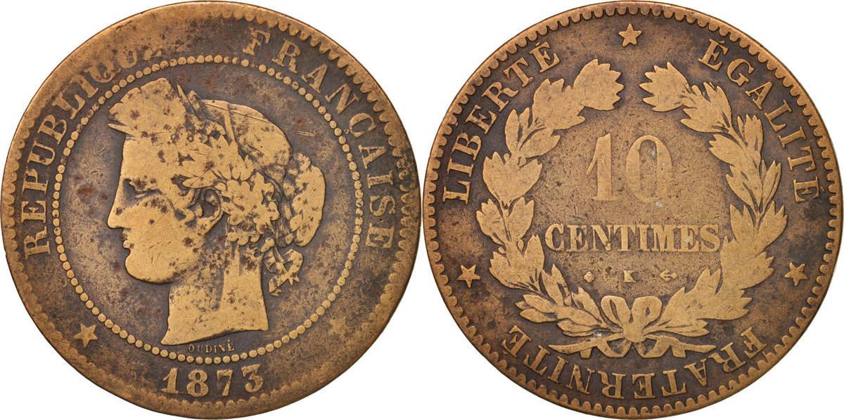 10 Centimes 1873 K Frankreich Cérès VF(20-25)