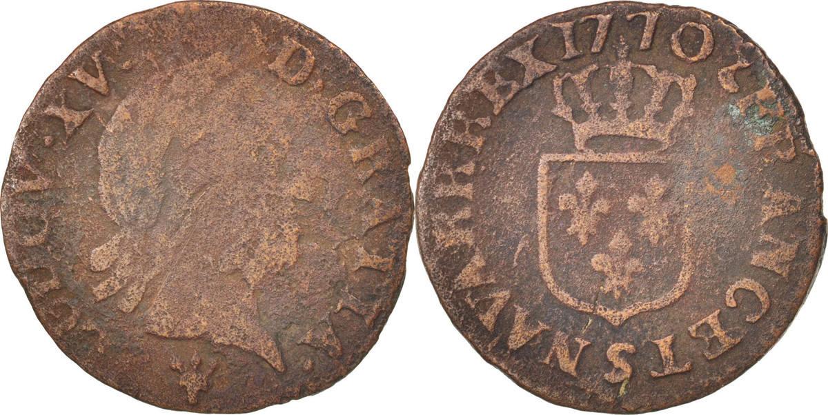 Liard 1770 S Frankreich Liard à la vieille tête Louis XV VF(20-25)