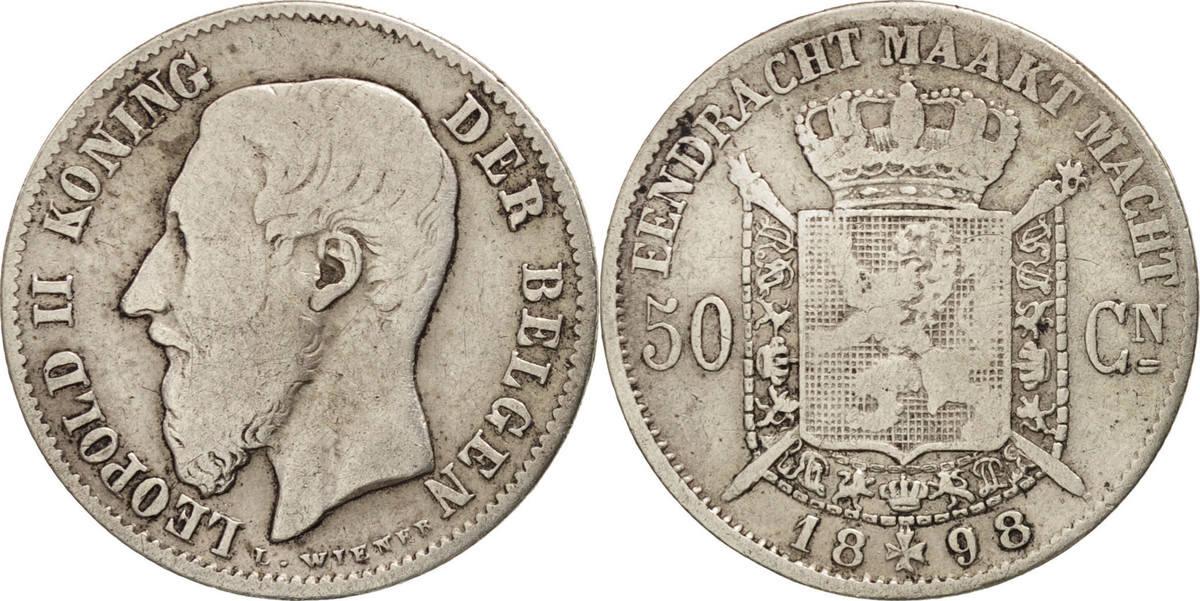 50 Centimes 1898 Belgien Leopold II VF(20-25)