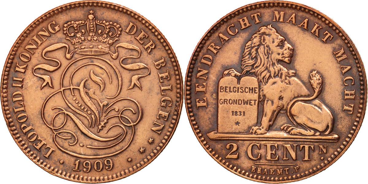 2 Centimes 1909 Belgien AU(50-53)
