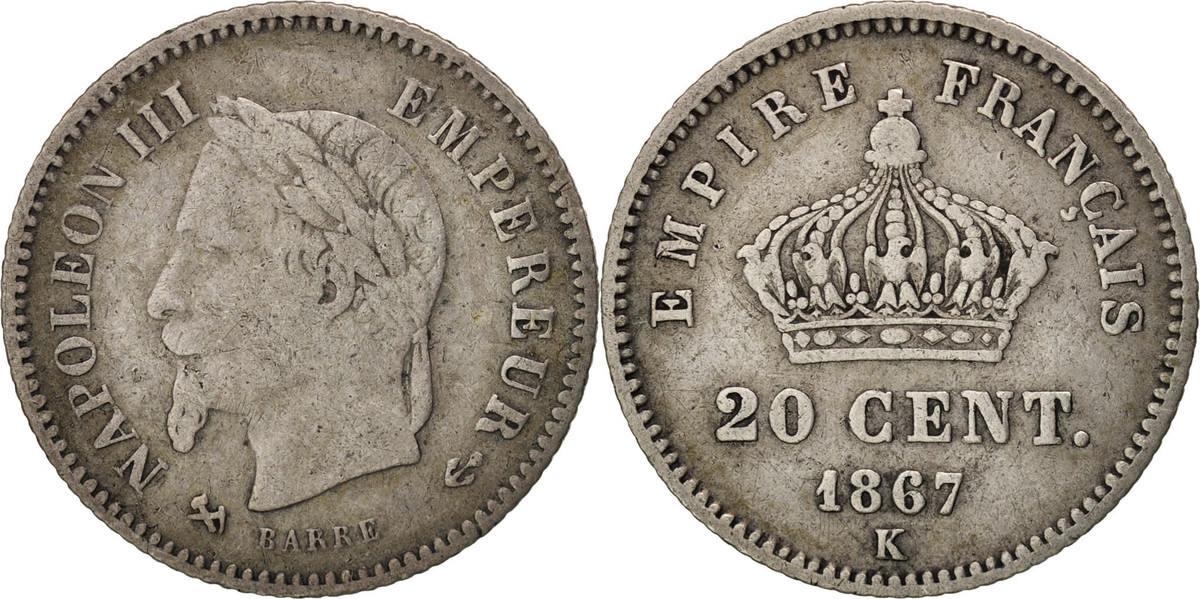 20 Centimes 1867 K Frankreich Napoléon III Napoleon III VF(30-35)