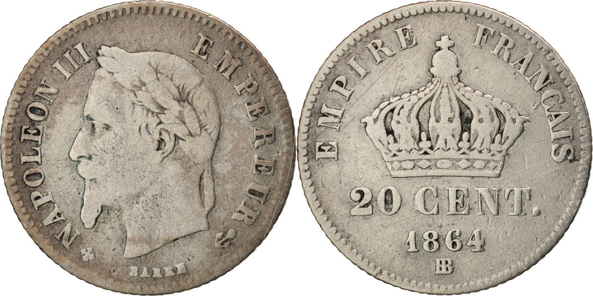 20 Centimes 1864 BB Frankreich Napoléon III Napoleon III VF(20-25)