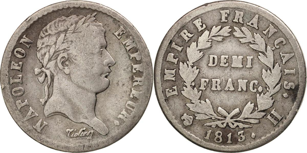 1/2 Franc 1813 H Frankreich Napoléon I VF(20-25)
