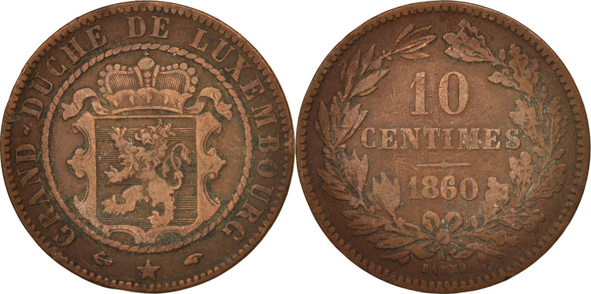 10 Centimes 1860 A Luxemburg William III VF(20-25)