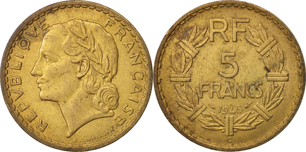 5 Francs 1946 C Frankreich Lavrillier AU(50-53)