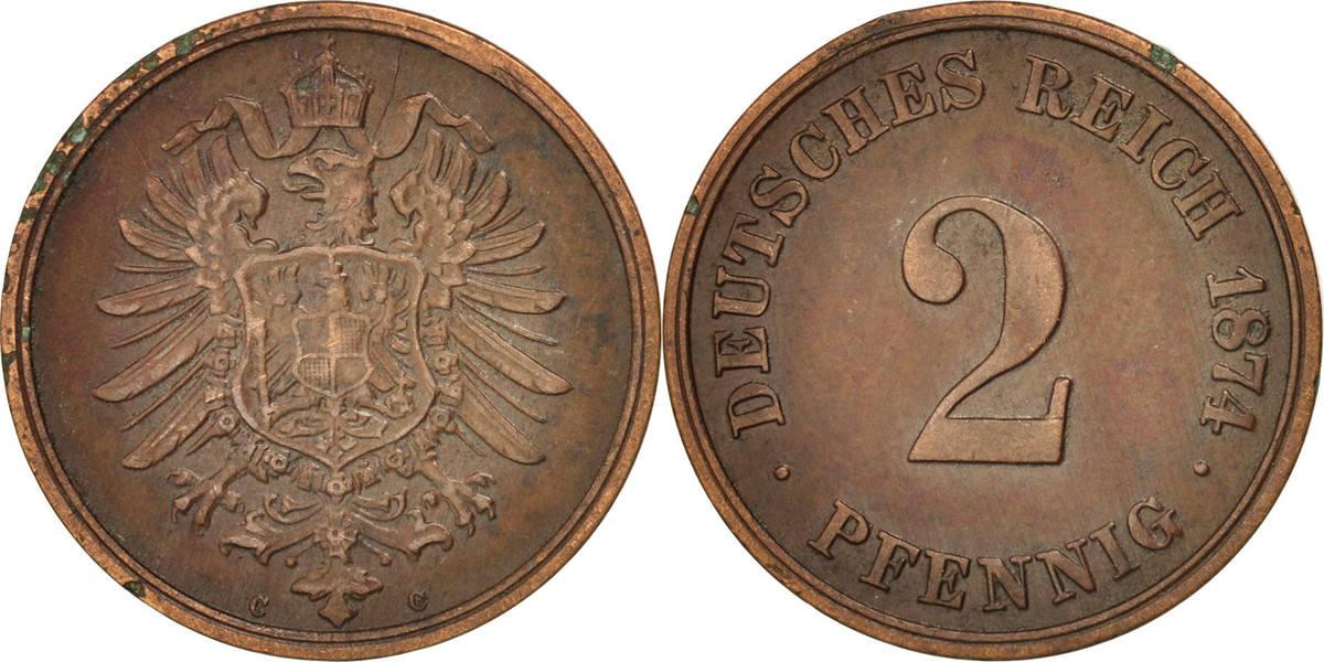 2 Pfennig 1874 C GERMANY - EMPIRE Wilhelm I AU(50-53)