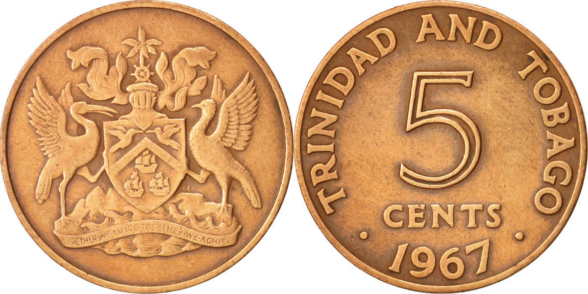 5 Cents 1867 Franklin Mint Trinidad Tobago Münze Franklin Mint