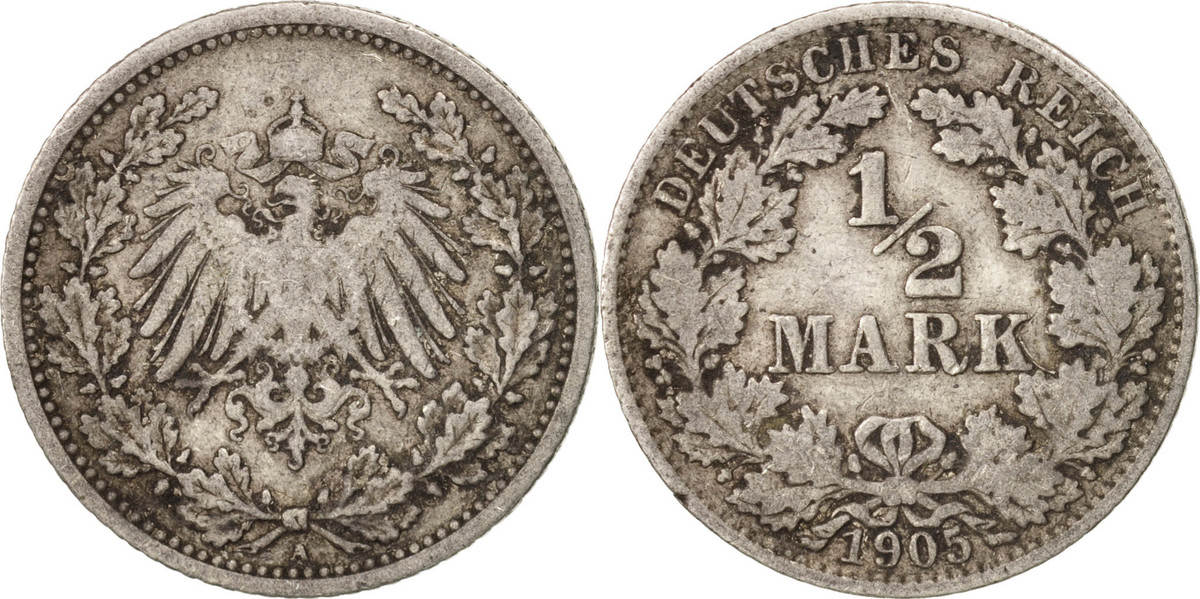 1/2 Mark 1905 A GERMANY - EMPIRE VF(30-35)