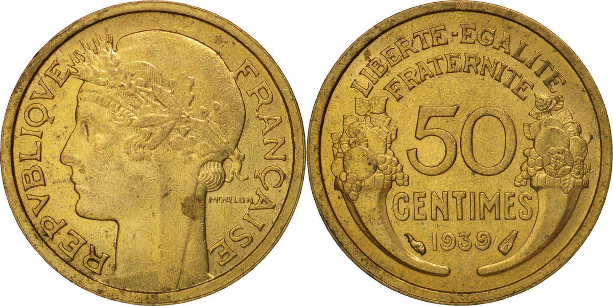 50 Centimes 1939 Paris Frankreich Morlon, Paris, Aluminum-Bronze MS(60-62)