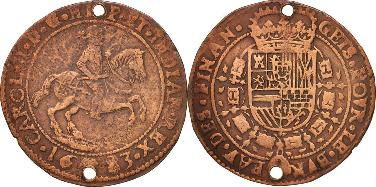 Token 1683 Spanische Niederlande Belgium, Charles II, Brabant, Bruxelles EF(40-45)