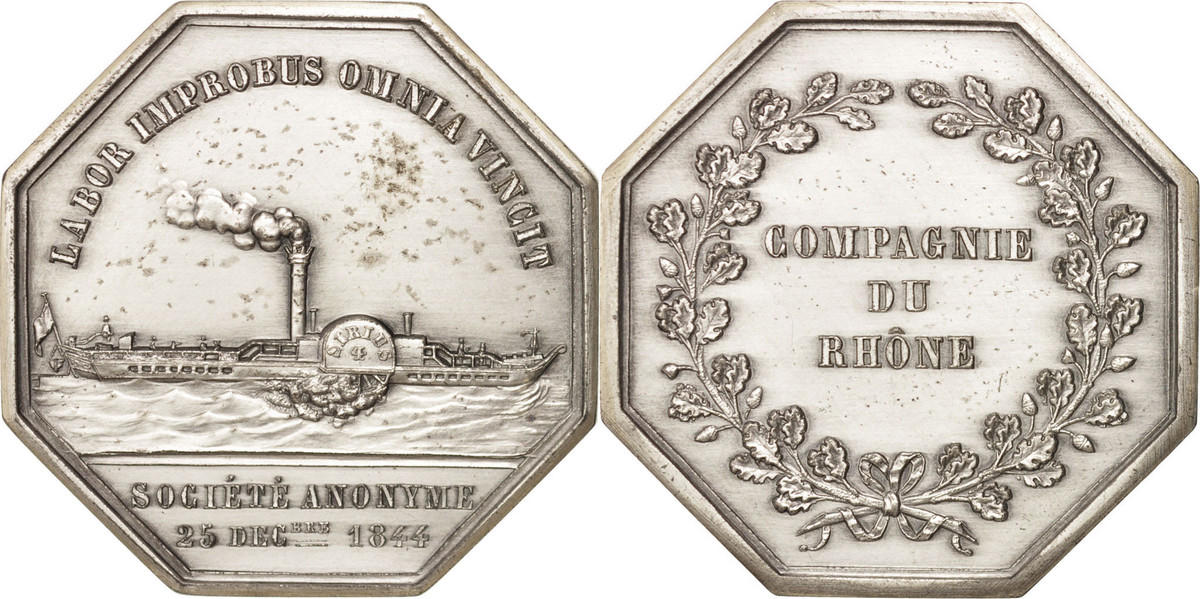 Token 1844 Frankreich Compagnie du Rhône, Silber, 37 MS(65-70)