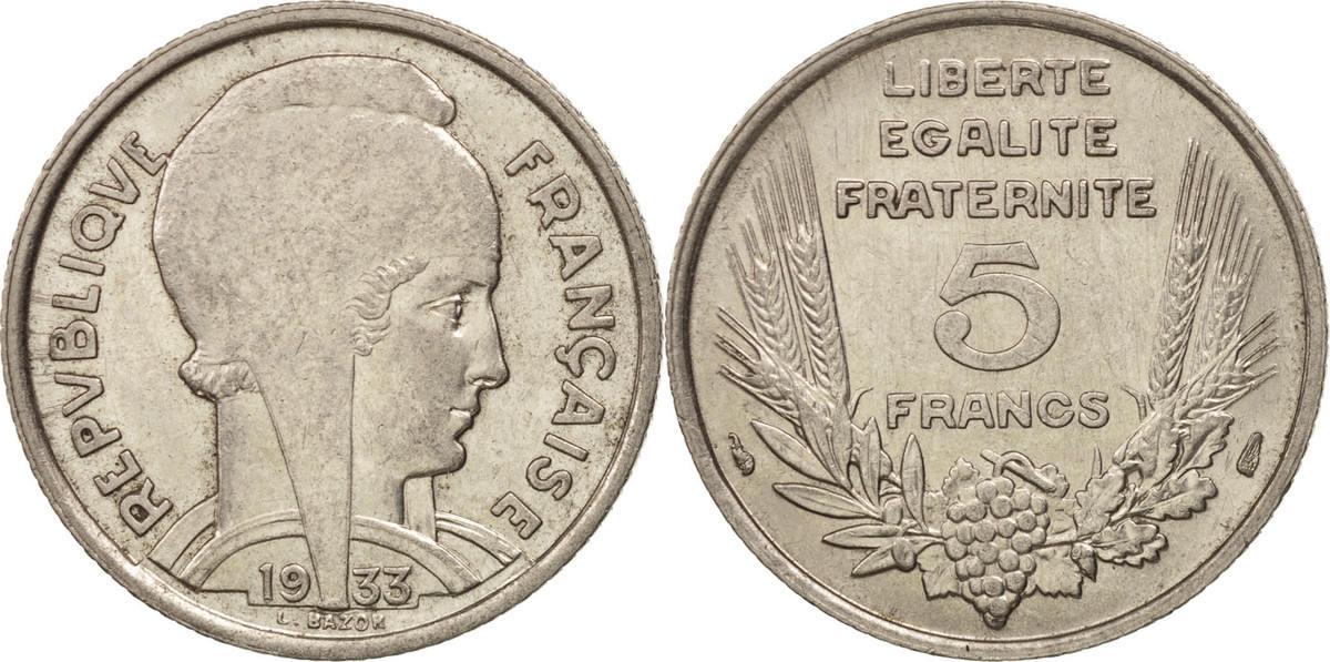 5 Francs 1933 Paris Frankreich Bazor, Paris, Nickel, KM:887, Gadoury:753 MS(63)