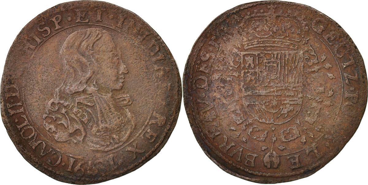 Token 1681 Niederlande Belgium, Charles II, Bruxelles, Bureau des Finances S+