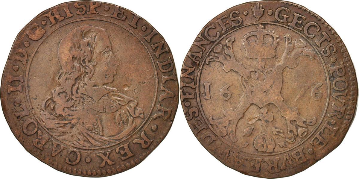 Token 1676 Spanische Niederlande Belgium, Charles II, Anvers, Bureau des Finances SS