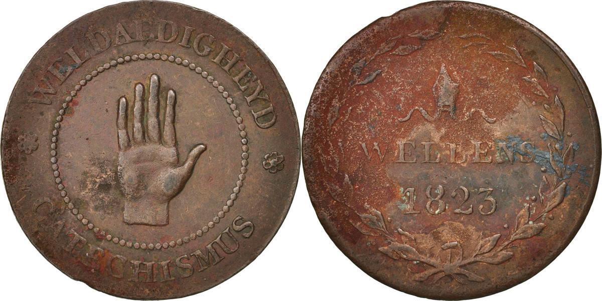 Token 1823 Niederlande Belgium, Anvers, Religious Class, Copper S