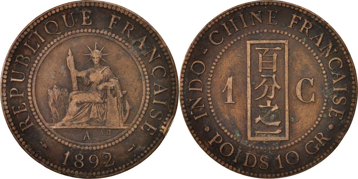 Cent 1892 A FRENCH INDO-CHINA Paris, Bronze, KM:1, Lecompte:43 S+