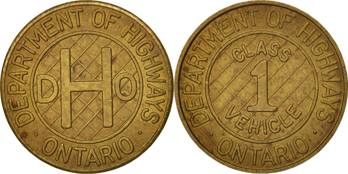 Token Kanada Ontario Department of Highway, UNZ, Brass, 17 UNZ