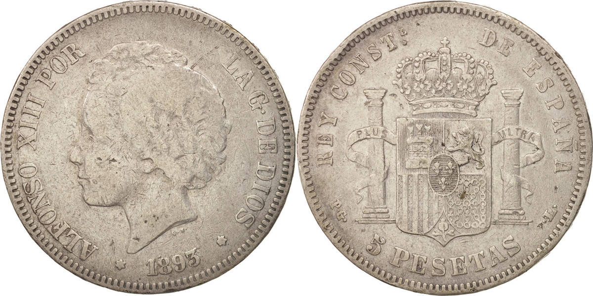 5 Pesetas 1893 Madrid Spanien Alfonso XIII, Madrid, S+, Silber, KM:700 S+