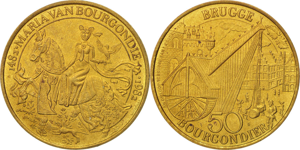 Token 1982 Belgien Touristic token, Brugge, 50 Bourgondier, UNZ UNZ