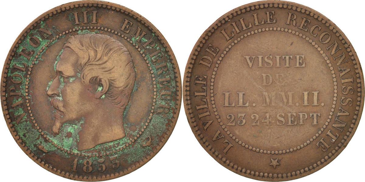 Token 1853 Frankreich Chamber of Commerce, Visite de Napoléon III à Lille S