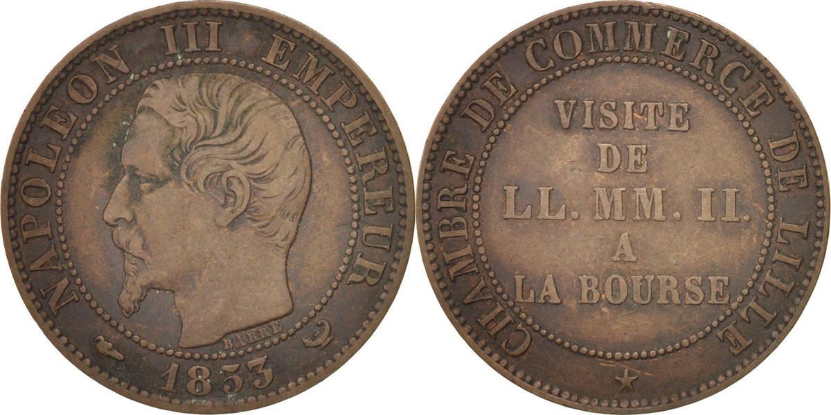 Token 1853 Frankreich Chamber of Commerce, Visite de Napoléon III à Lille SS