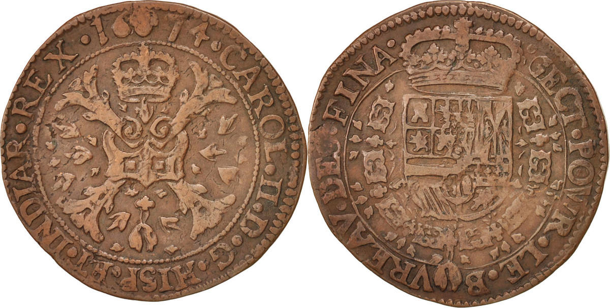 Token 1674 Belgien Spanish Netherlands, Charles II, Bruxelles, Bureau des Finances SS