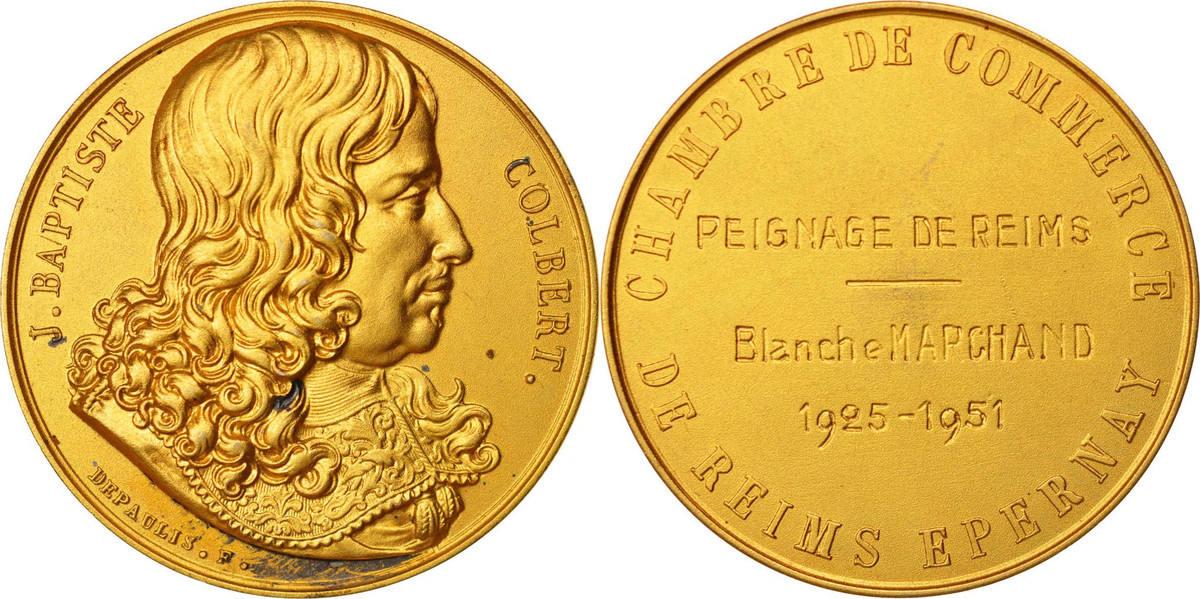 Medal 1951 Frankreich Chambre de Commerce de Reims Epernay, Politics, Society UNZ