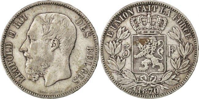 5 Francs, 5 Frank 1870 Brussels Belgien Leopold II VF(30-35)