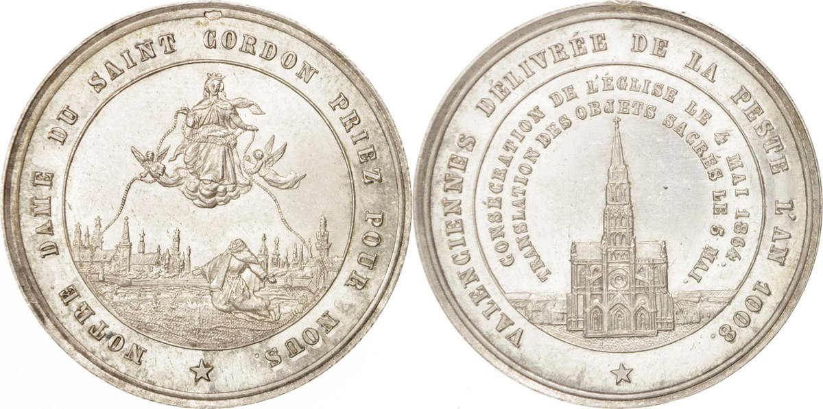 Medal 1864 Frankreich Valenciennes, Notre Dame du Saint Cordon, Religions VZ