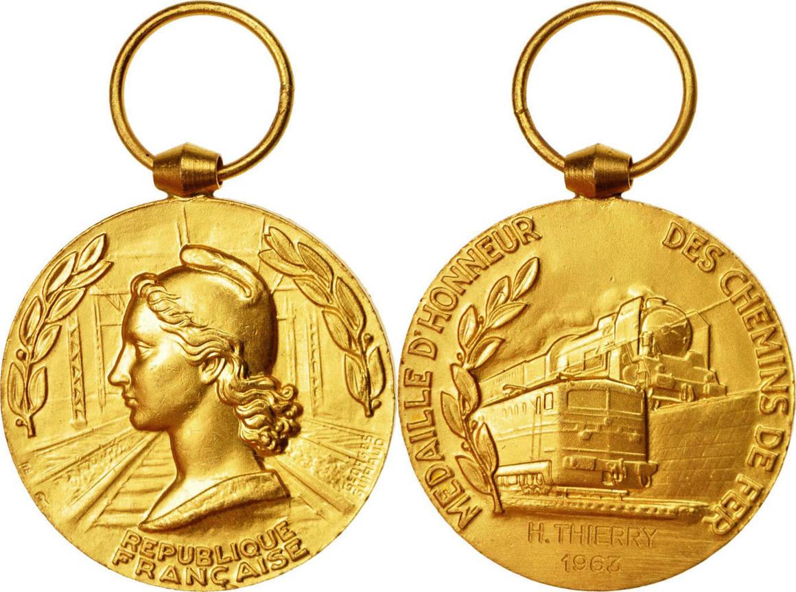 Medal 1963 Frankreich Railway, Excellent Quality, Médaille d'Honneur