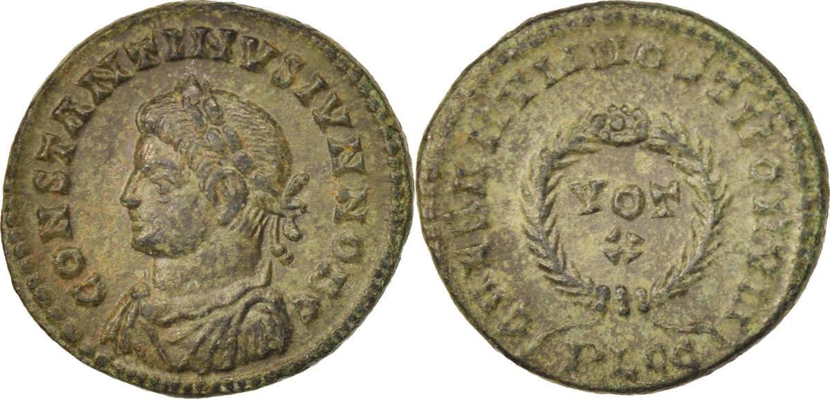 Nummus 323 Lyons Constantine II, Lyons, SS+, Copper, RIC:224 SS+