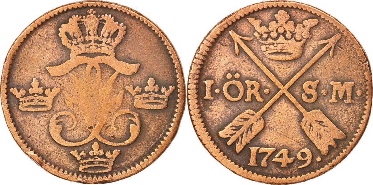 Ore, S.M. 1749 Schweden Frederick I, SS, Copper, KM:416.1 SS