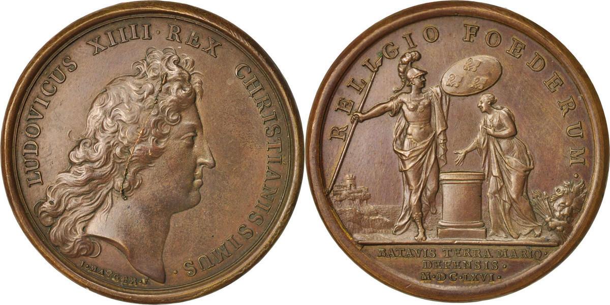 Medal 1666 Frankreich Secours donné aux Hollandais, Louis XIV, History VZ
