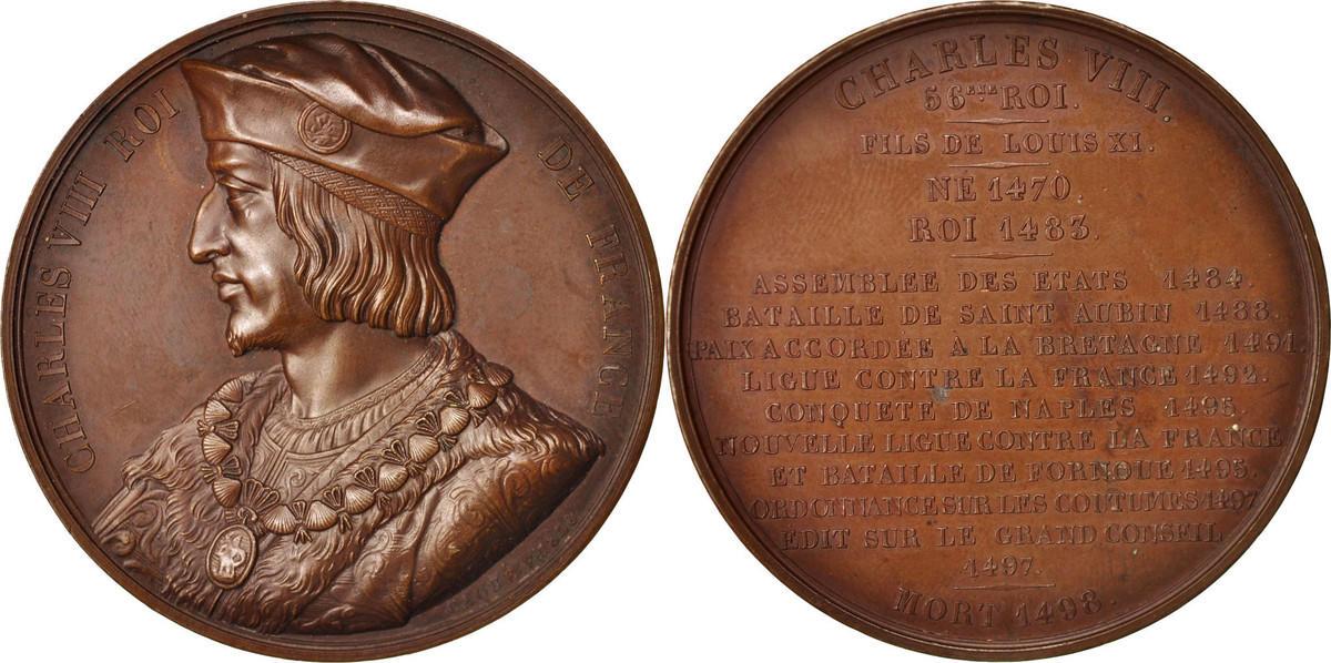 Medal Frankreich Charles VIII Roi de France, History, Caqué, VZ, Copper, 52 VZ