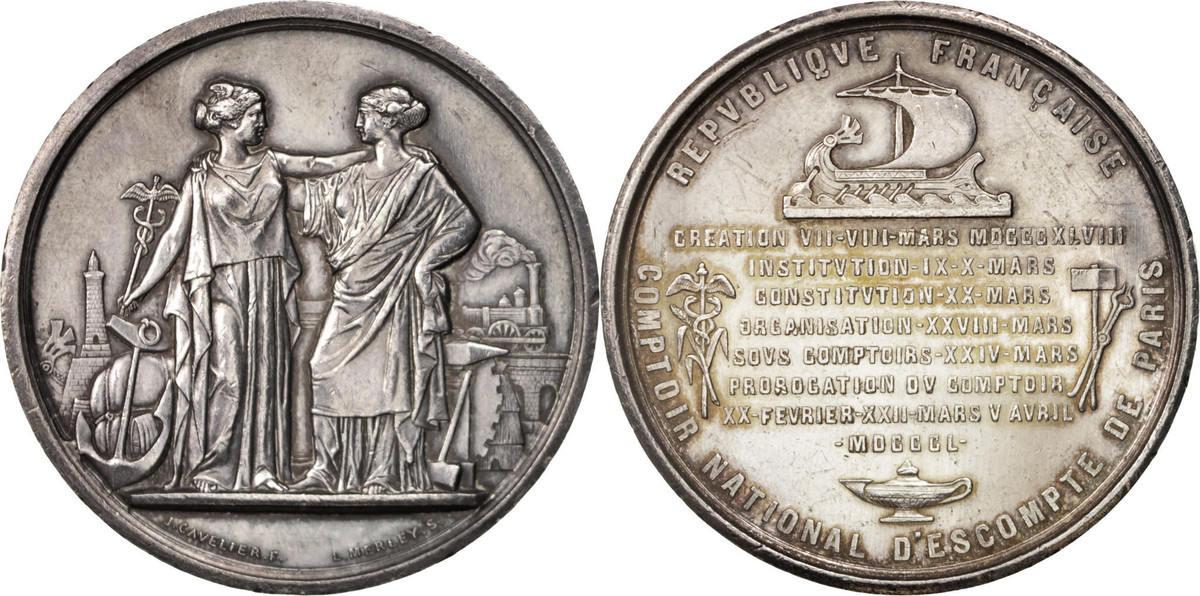 Medal 1850 Frankreich Comptoir National d'Escompte de Paris, Business & industry VZ