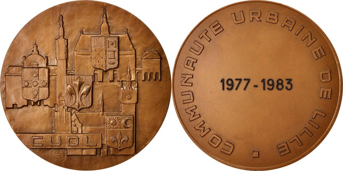 Medal 1982 Frankreich Communauté urbaine de Lille, Politics, Society, War VZ