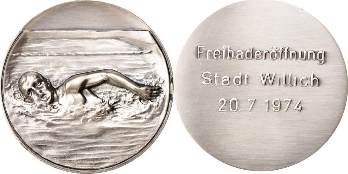 Medal 1974 Deutschland Freibaderôffnung Stadt Willich, Sports & leisure UNZ