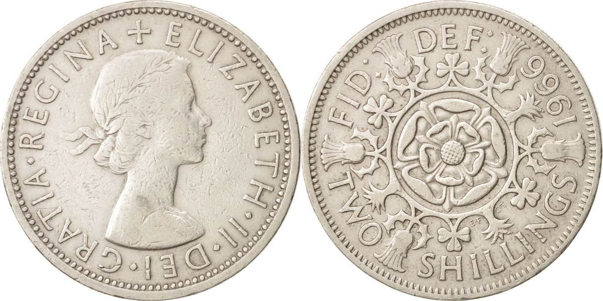 Florin, Two Shillings 1966 Großbritannien Elizabeth II, S+, Copper-nickel S+