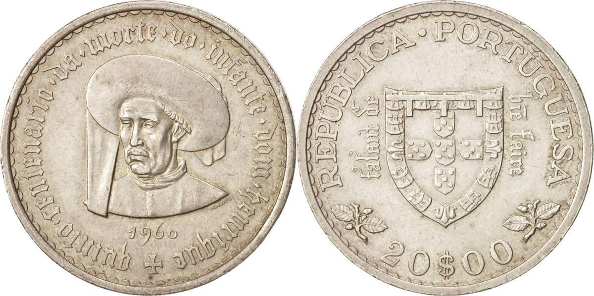20 Escudos 1960 Lisbon Portugal Lisbon, VZ, Silber, KM:589 VZ
