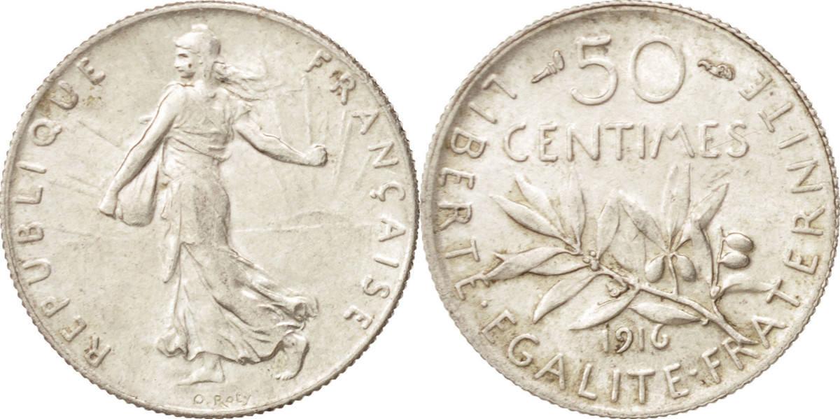 50 Centimes 1916 Paris Frankreich Semeuse, Paris, UNZ, Silber, KM:854, Gadoury:420 UNZ