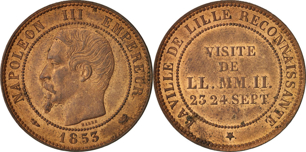 Token 1853 Frankreich Chamber of Commerce, Visite de Napoléon III à Lille VZ+