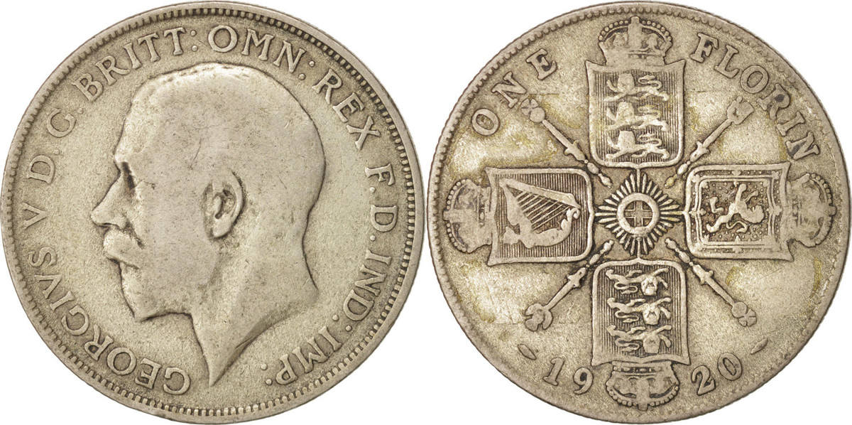 Florin, Two Shillings 1920 Großbritannien George V, S, Silber, KM:817a S