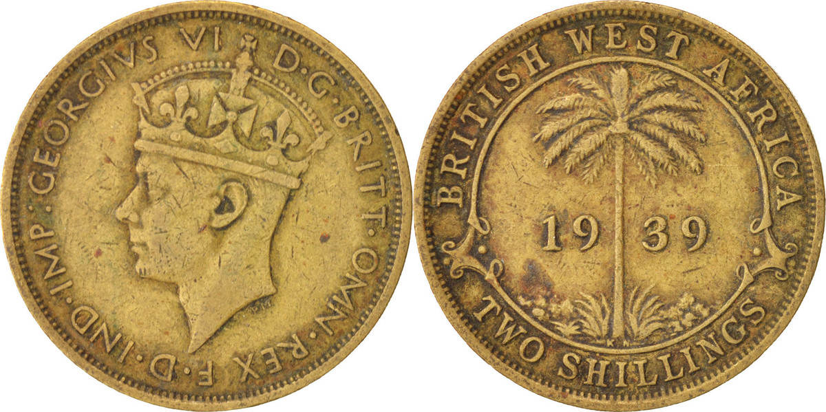 2 Shillings 1939 H BRITISH WEST AFRICA George VI, S+, Nickel-brass, KM:24 S+