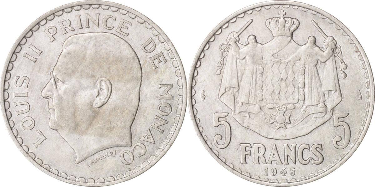 5 Francs 1945 Monaco Louis II, VZ, Aluminium, KM:122, Gadoury:135 VZ