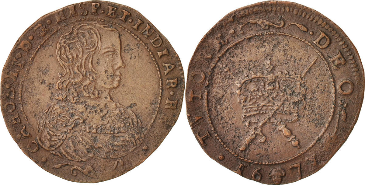 Token 1671 Belgien Spanish Netherlands, Charles II, Bruxelles, SS, Copper, 30 SS